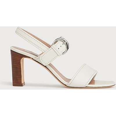 Natalie Off-White Leather Buckle Sandals, Off White