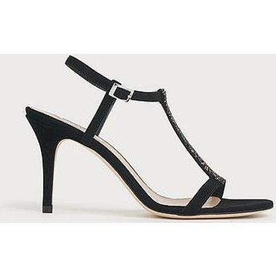 Nevada Black Suede Swarovski Crystal Sandals, Black