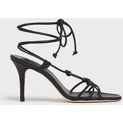 Nimes Black Leather Strappy Stiletto Sandals, Black