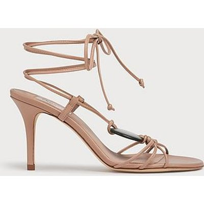 Nimes Beige Leather Strappy Stiletto Sandals, Trench
