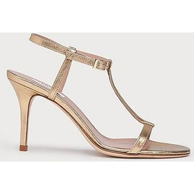 North Gold Leather T-Bar Sandals