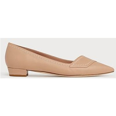 Polly Beige Leather Contrast Stitch Flats
