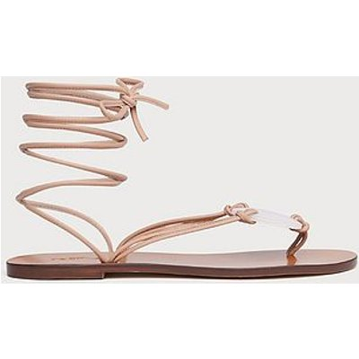 Reese Beige Leather Strappy Flat Sandals, Trench
