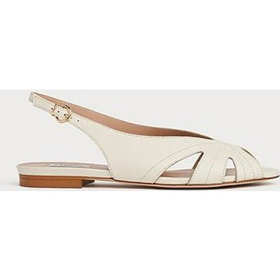 Rome Off-White Leather Cut-Out Sandals, White