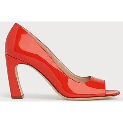 Harper Orange Patent Peeptoe Courts