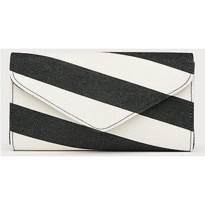 Lucia Black White Fabric Clutch, Black White