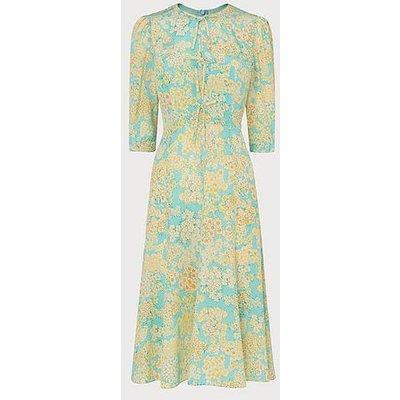 Alicia Impressionist Floral Print Silk Tea Dress, Aquamarine