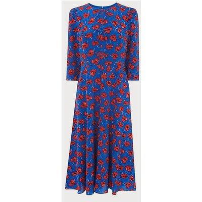 Alicia Poppy Print Silk Tea Dress, Poppy