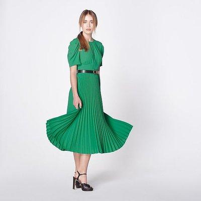 Avalon Green Crepe Pleated Dress, Bright Green