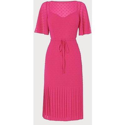 Boe Pink Self-Spot Midi Dress, Bright Pink