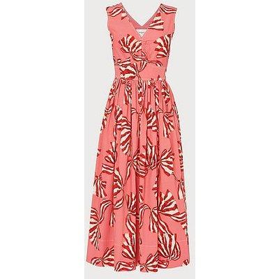 Candice Pink Bow Print Cotton Sun Dress, Pink