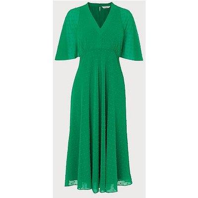 Claud Green Self-Spot Midi Dress, Fern Green