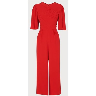 Clemence Red Crepe Pleat Detail Jumpsuit, Bright Red