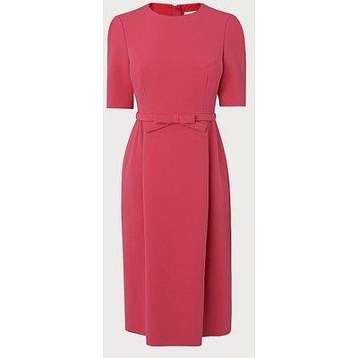 Elina Pink Bow Belt Shift Dress, Raspberry
