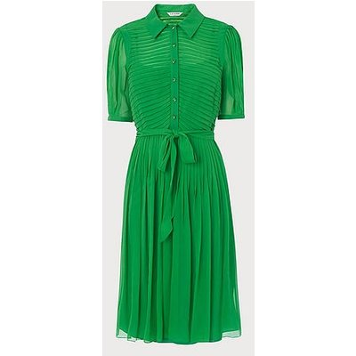 Eloise Green Silk Pintucked Shirt Dress, Bright Green