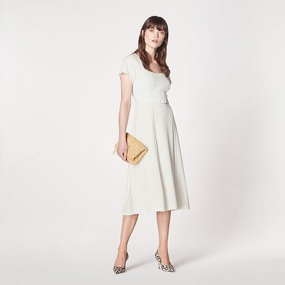 Emmy Cream Crepe Belted Dress, Cream