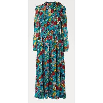 Gish Peony Print Tie Neck Silk Dress, Multi