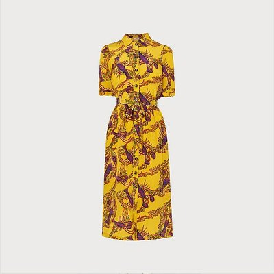 Irenie Yellow Lobster Print Silk Shirt Dress, Mustard
