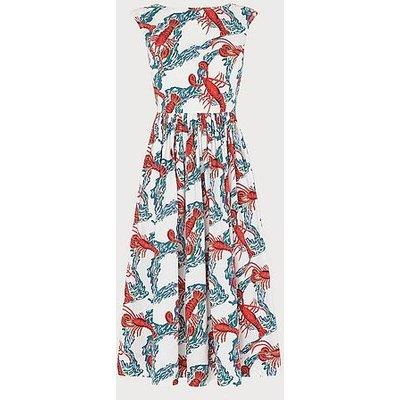 Issie Lobster Print Cotton Sun Dress, White