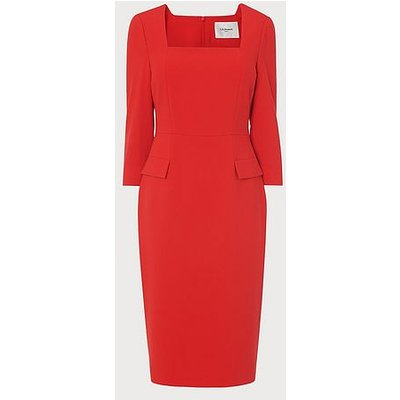 Ivor Red Crepe Shift Dress, Red