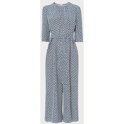 Joni Block Print Silk Jumpsuit, Blue Multi