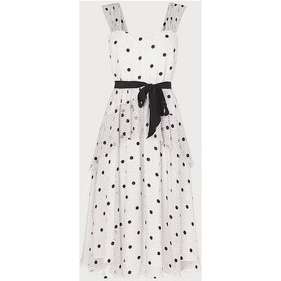 Lottie Monochrome Spot Print Tiered Dress, Multi