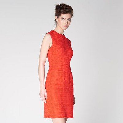 Lucca Red Tweed Scallop Trim Dress, Bright Red