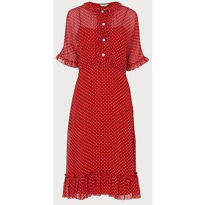 Malami Spot Print Silk Dress, Red Multi