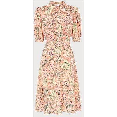 Marceau Impressionist Floral Print Silk Dress, Multi