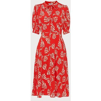 Marceau Red Bow Print Silk Dress, Red Multi