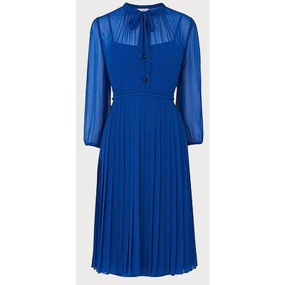 Marlow Blue Polka Dot Pleated Dress, Blue Multi
