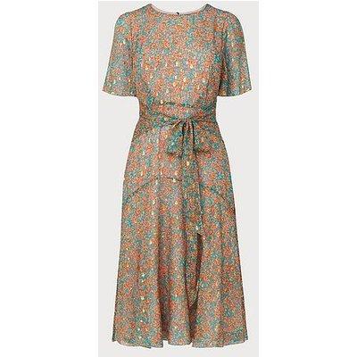 Mimi Teal Silk Metallic Dress, Teal