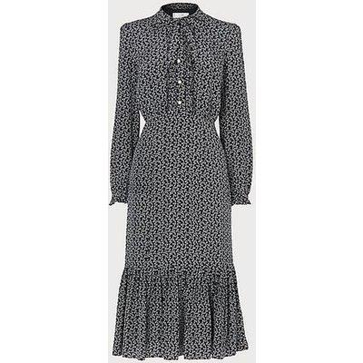 Mimosa Bow Print Silk Dress, Navy Cream