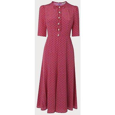 Montana Block Print Silk Tea Dress, Red Multi