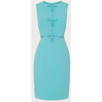 Rosamund Pale Blue Bow Detail Occasion Dress, Pale Blue