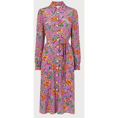 Runa Purple 1940's Floral Print Silk Dress, Purple