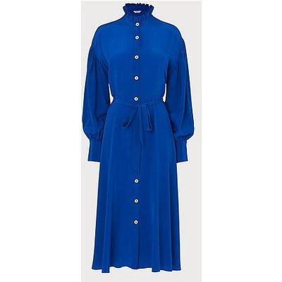 Sukey Blue Silk Pleat Neck Shirt Dress, Royal