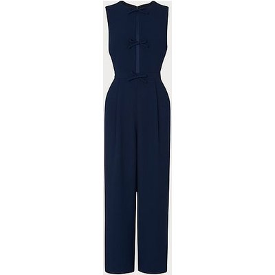 Summer Navy Crepe Bow Detail Jumpsuit, Midnight