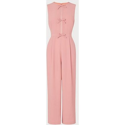 Summer Pink Crepe Bow Detail Jumpsuit, Rose