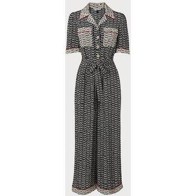 Vivian Navy Crescent Print Silk Jumpsuit, Navy Multi