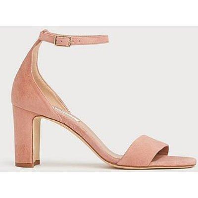 Nissi Pink Suede Block Heel Sandals, Clay
