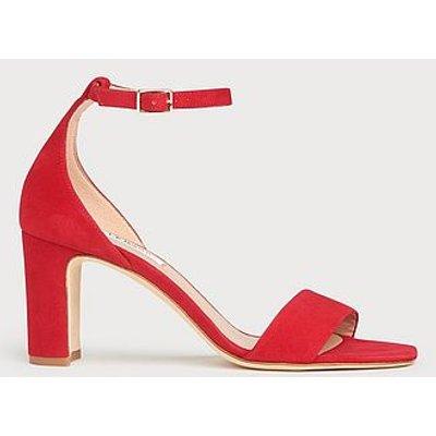 Nissi Red Suede Block Heel Sandals, Roca Red