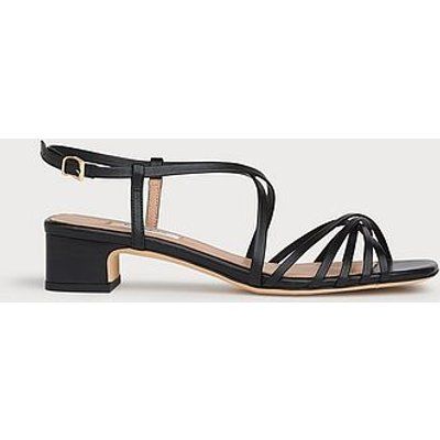 Newport Black Leather Strappy Sandals, Black