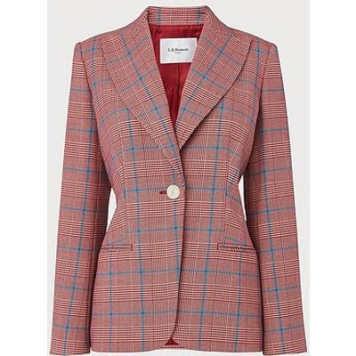 Eunice Prince of Wales Check Jacket, Red Check