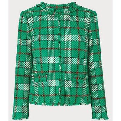 Lowri Check Tweed Jacket, Green