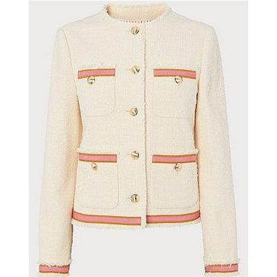 Soraya Cream Tweed & Pink Ribbon Jacket, Multi