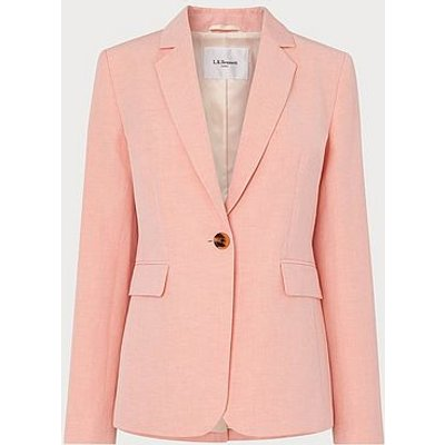 Sweetpea Pink Linen-Blend Jacket, Pale Pink
