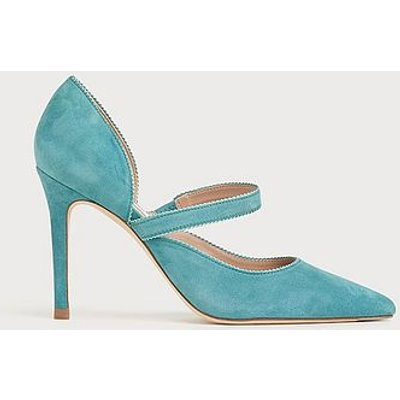 Florence Blue Suede Pointed Courts, Light Blue
