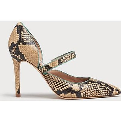 Florence Yellow Snake Print Leather Picot Trim Courts, Snake Print