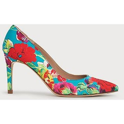 Floret Peony Print Silk Pointed Toe Courts, Floral